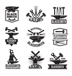 Black logos for blacksmith vintage labels set vector