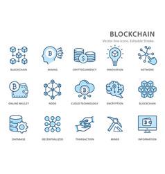 blockchain flat line icon set vector image