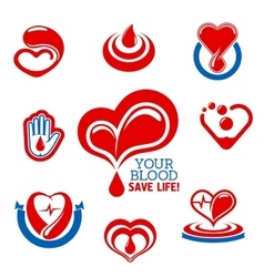 Blood donation icons for medical charity design vector image