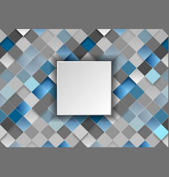 Blue grey geometric squares mosaic abstract vector