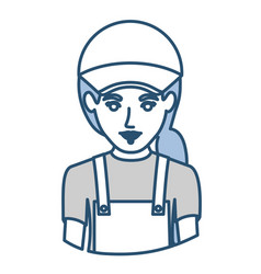 Blue silhouette with half body of delivery woman vector
