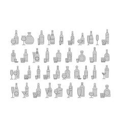 bottles and glasses line black icon set holiday vector image