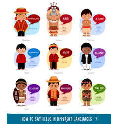 Boys saying hello in foreign languages vector