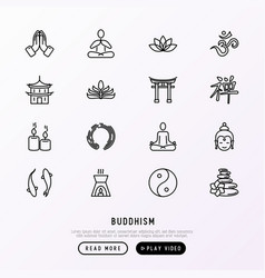 buddhism thin line icons set vector image