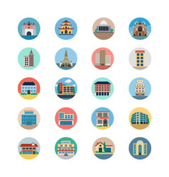 Buildings Flat Colored Icons 4 vector image