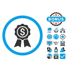 Business Award Flat Icon with Bonus vector image