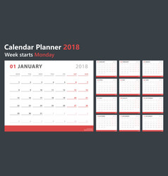 calendar planner 2018 week starts monday vector image