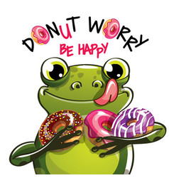 Cartoon frog with donuts vector