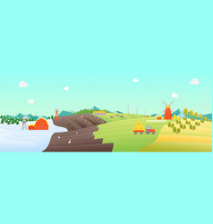 Cartoon seasons landscape background vector