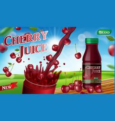 cherry juice with splash isolated on bokeh vector image