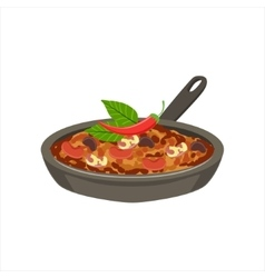 Chili Con Carne Traditional Mexican Cuisine Dish vector