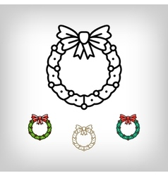 Christmas wreath isolated icon decoration vector