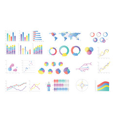 collection of colorful bar charts pie diagrams vector image