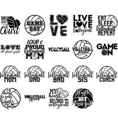 Collection volleyball phrases slogans vector