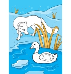 Coloring Book Of Fox And Duck vector
