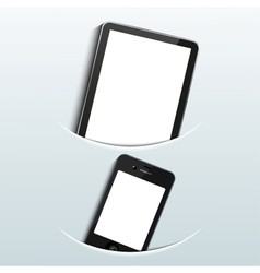 computer tablet with smartphone vector image