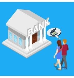 Couple go to the bank for a Credit Isometric vector image