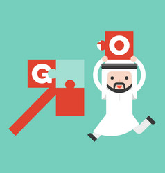 Cute arab business man bring jigsaw to complete vector