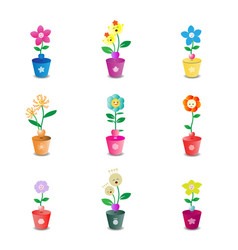 cute flower pot on white background vector image