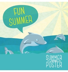 Cute summer poster - Dolphins jumping in the ocean vector