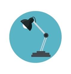 Desk lamp bulb light blue background vector