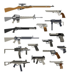 Different automatic weapons vector