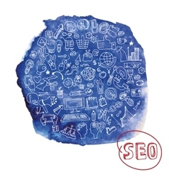doodle seo concept with icons in watercolor blue vector image