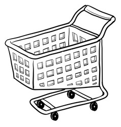 doodle shopping cart vector image
