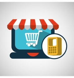 e-commerce cart shop online concept vector image