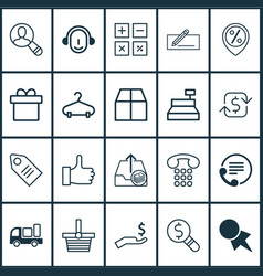 Ecommerce icons set includes icons such as vector