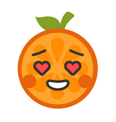 emoji - orange in love with happy smile isolated vector image