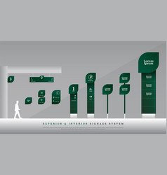 exterior and interior signage directional pole vector image