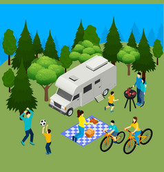 family picnic isometric composition vector image