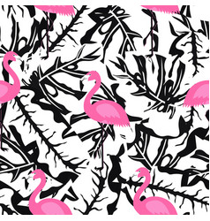 Flamingo pattern on black and white vector