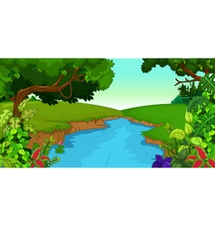 Forest background with river vector