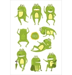 Frog Cute Character In Different Poses Childish vector