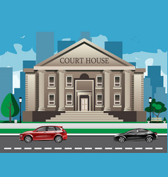 Front view of court house vector