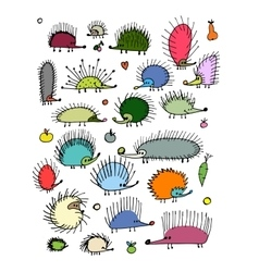 Funny hedgehog collection sketch for your design vector
