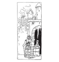 geirrod and loki vintage vector image