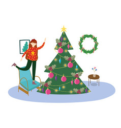 Girl in chair decorating tree merry christmas vector