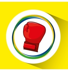 Glove boxing olympic games brazilian flag colors vector