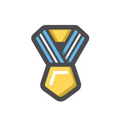 gold award with ribbon icon cartoon vector image
