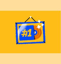Gold music album award frame cartoon icon isolated vector