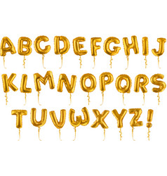 Golden inflatable toy balloons font 3d realistic vector