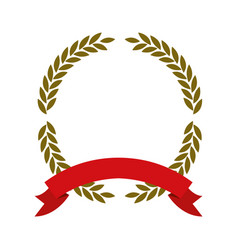 Golden olive branches forming a circle with red vector
