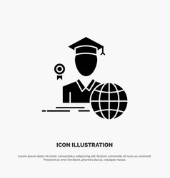 Graduation avatar graduate scholar solid glyph vector