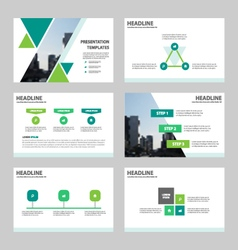 Green triangle presentation Infographic templates vector