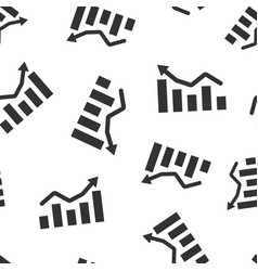 growing bar graph icon seamless pattern vector image