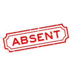 Grunge red absent word rubber business seal stamp vector