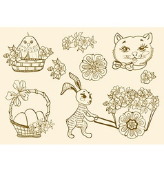 Hand drawn doodle Easter symbols vector image vector image